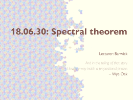18.06.30: Spectral theorem