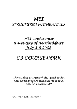 Mei maths c3 coursework help