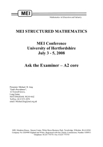 MEI Ask the Examiner – A2 core  MEI STRUCTURED MATHEMATICS