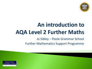 Jo Sibley – Poole Grammar School Further Mathematics Support Programme