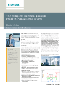 The complete electrical package – reliable from a single source Electrical Solutions