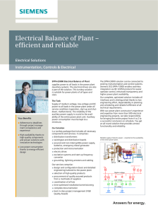 Electrical Balance of Plant – efficient and reliable Electrical Solutions