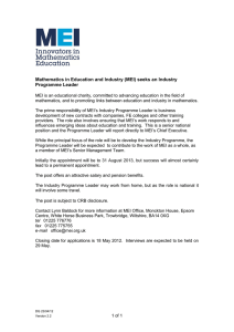 Mathematics in Education and Industry (MEI) seeks an Industry Programme Leader