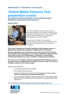 'Oxford Maths Entrance Test' preparation course Mathematics in Education and Industry A