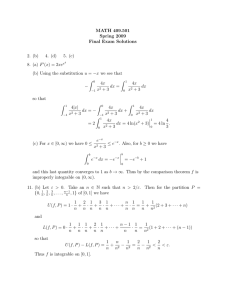 MATH 409.501 Spring 2009 Final Exam Solutions 2. (b)