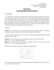 Final Paper: An Introduction to Interest Theory