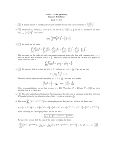 Math 172.200 (Honors) Exam 3 Solutions April 27, 2010 (−1)