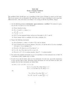 Math 220 Exam 1 Sample Problems September 19, 2013