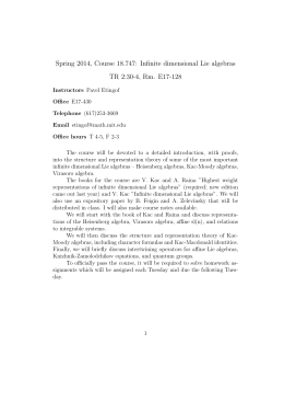 Spring 2014, Course 18.747: Infinite dimensional Lie algebras