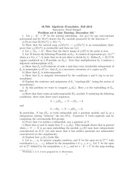 18.769: Algebraic D-modules. Fall 2013 Instructor: Pavel Etingof