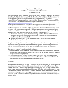 Department of Psychology Full-Time Lecturer Promotion Guidelines