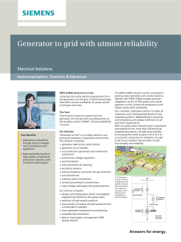 Generator to grid with utmost reliability Electrical Solutions Instrumentation, Controls & Electrical