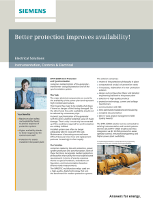 Better protection improves availability! Electrical Solutions Instrumentation, Controls & Electrical