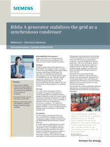 Biblis A generator stabilizes the grid as a synchronous condenser