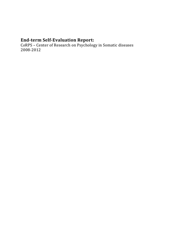 End Term Self Evaluation Report O 2008 2012