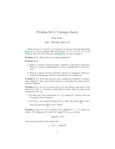 Problem Set 5: Category theory Your name: Due: Thursday, March 10