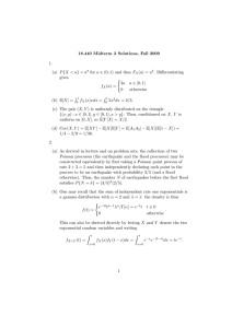 18.440 Midterm 2 Solutions, Fall 2009 1.