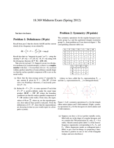 18.369 Midterm Exam (Spring 2012) Problem 2: Symmetry (30 points)