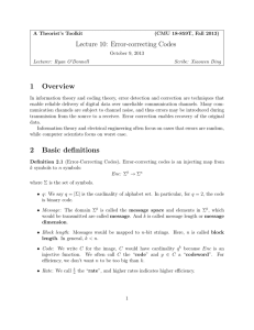 Lecture 10: Error-correcting Codes