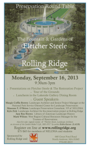Fletcher Steele Preservation Round Table Monday, September 16, 2013