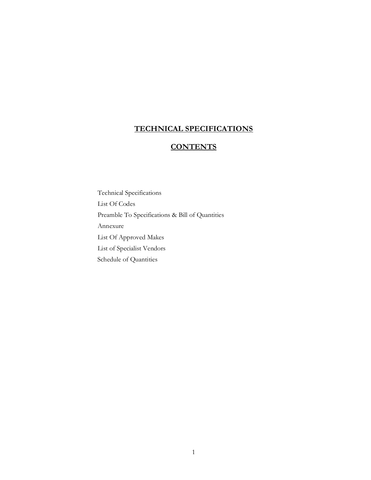 Technical Specifications Contents