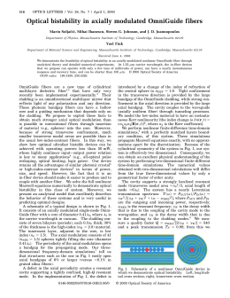 Optical bistability in axially modulated OmniGuide fibers Yoel Fink 516