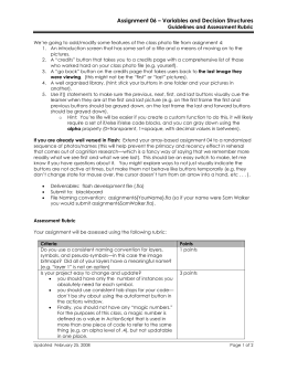 Assignment 06 – Variables and Decision Structures Guidelines and Assessment Rubric