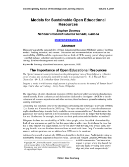 Models for Sustainable Open Educational Resources Abstract Stephen Downes