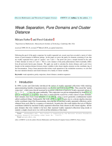 Weak Separation, Pure Domains and Cluster Distance Miriam Farber and Pavel Galashin