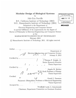 Modular  Design  of  Biological  Systems MAR M.S.,