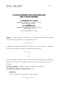 , A SCALAR GEODESIC DEVIATION AND A PHASE THEOREM