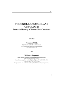 THOUGHT, LANGUAGE, AND ONTOLOGY: Essays in Memory of Hector-Neri Casta ˜neda Francesco Orilia