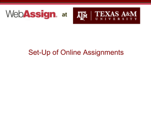 Set-Up of Online Assignments at