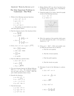 Math142 Week In Review # 2 The Most Important Problems to