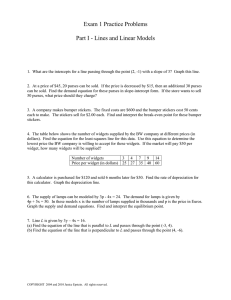 Exam 1 Practice Problems  Part I - Lines and Linear Models