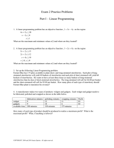 Exam 2 Practice Problems  Part I – Linear Programming