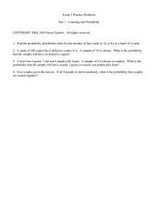 Exam 3 Practice Problems  Part 1 –Counting and Probability