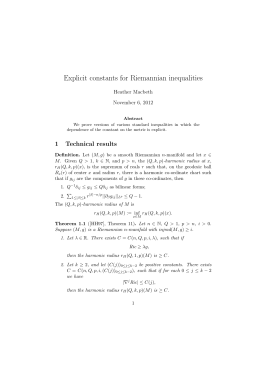 Explicit constants for Riemannian inequalities Heather Macbeth November 6, 2012
