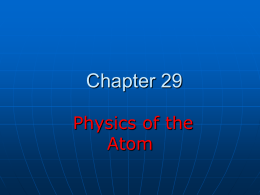 Chapter 29 Physics of the Atom
