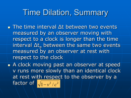 Time Dilation, Summary