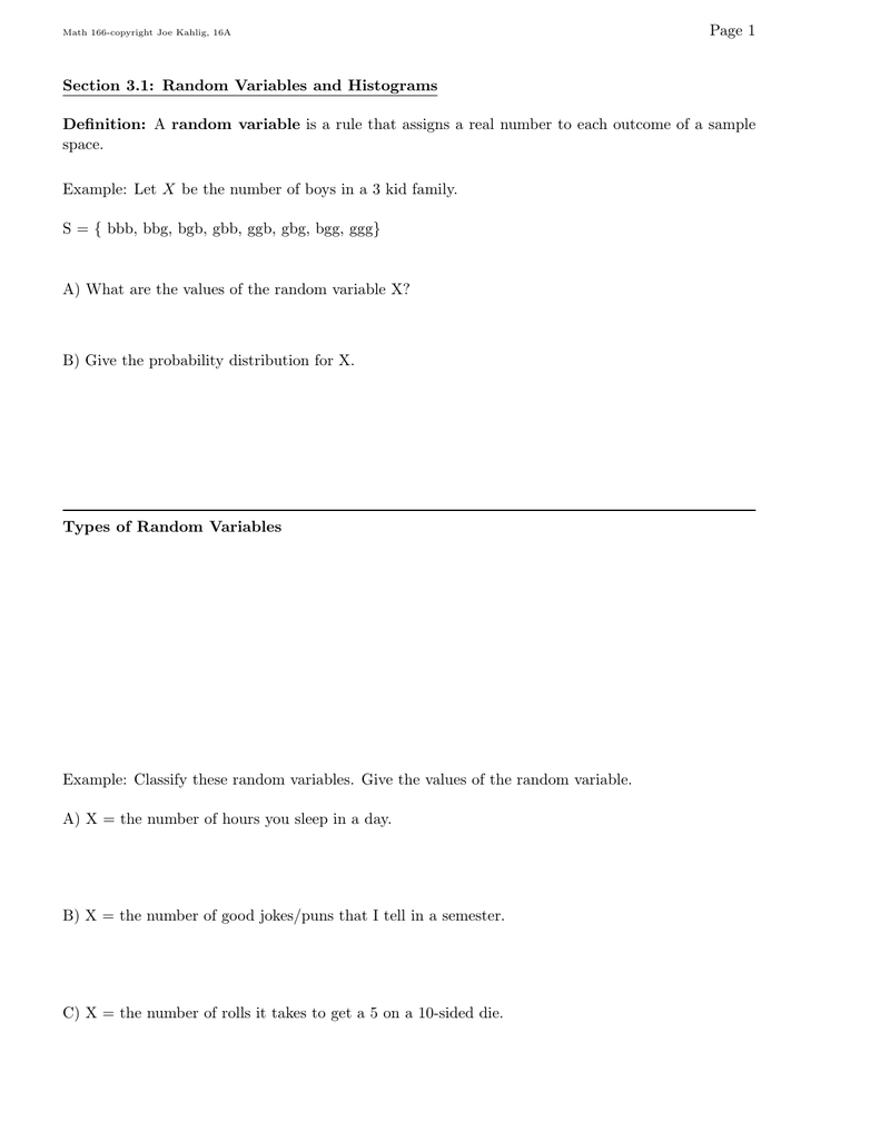 Page 1 Section 3 1: Random Variables and Histograms