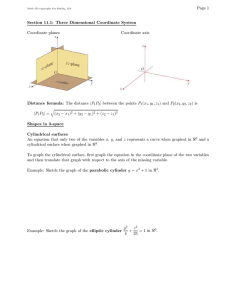 Page 1 Section 11.1: Three Dimensional Coordinate System Coordinate planes Coordinate axis