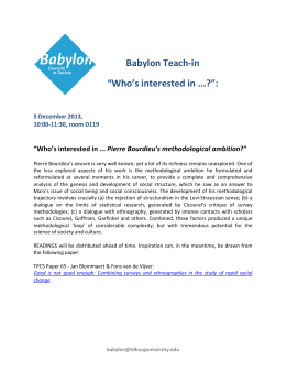 "Babylon Teach-in ""Who's interested in ...?"":  Pierre Bourdieu's methodological ambition"