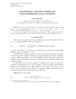 ASYMPTOTIC VOLUME FORMULAE AND HYPERBOLIC BALL PACKING T.H. Marshall
