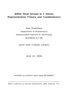 K-theory Affine Weyl Groups in Representation Theory, and Combinatorics Alex Postnikov