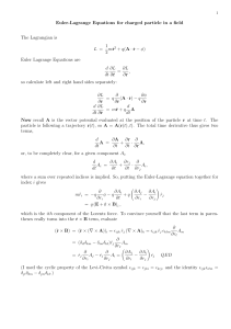 Euler-Lagrange Equations for charged particle in a field The Lagrangian is 1 q