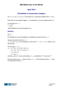 MEI Maths Item of the Month April 2014  Divisibility of consecutive integers