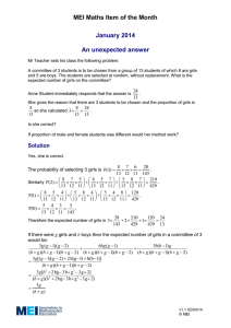 MEI Maths Item of the Month January 2014  An unexpected answer