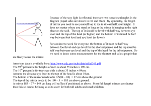 Because of the way light is reflected, there are two... diagram (equal sides are shown in red and blue). ...