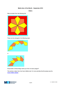 – September 2012 Maths Item of the Month Siders